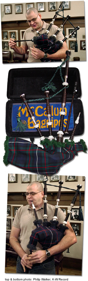 Cpl. Ryan Pagnacco's brand new set of McCallum bagpipes
