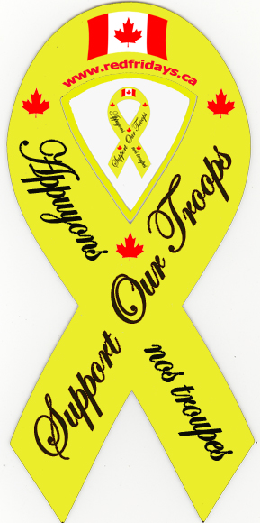 red fridays products, yellow ribbons, support our troops, car
